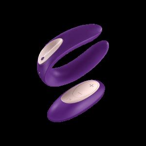 Многофункциональный стимулятор для пар с пультом управления Double Plus Remote Satisfyer, фиолетовый