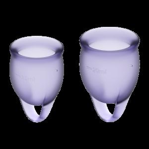 Набор менструальных чаш Feel confident Menstrual Cup Satisfyer, фиолетовые