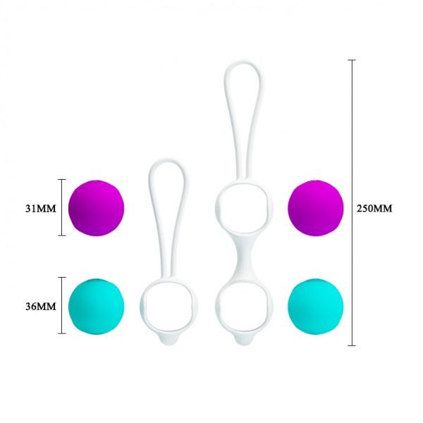 Шарики вагинальные Orgasmic ball, D 31/36 мм, голубые/фиолетовые  - 1